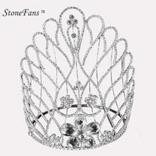StoneFans Rhinestone Tiaras Bridal Crown Headband Women Headpiece Floral  Wedding Hair Accessories Crystal Bride Jewelry Tiara 7 801efa181b7f