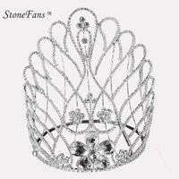 StoneFans Rhinestone Tiaras Bridal Crown Headband Women Headpiece Floral Wedding Hair Accessories Crystal Bride Jewelry Tiara