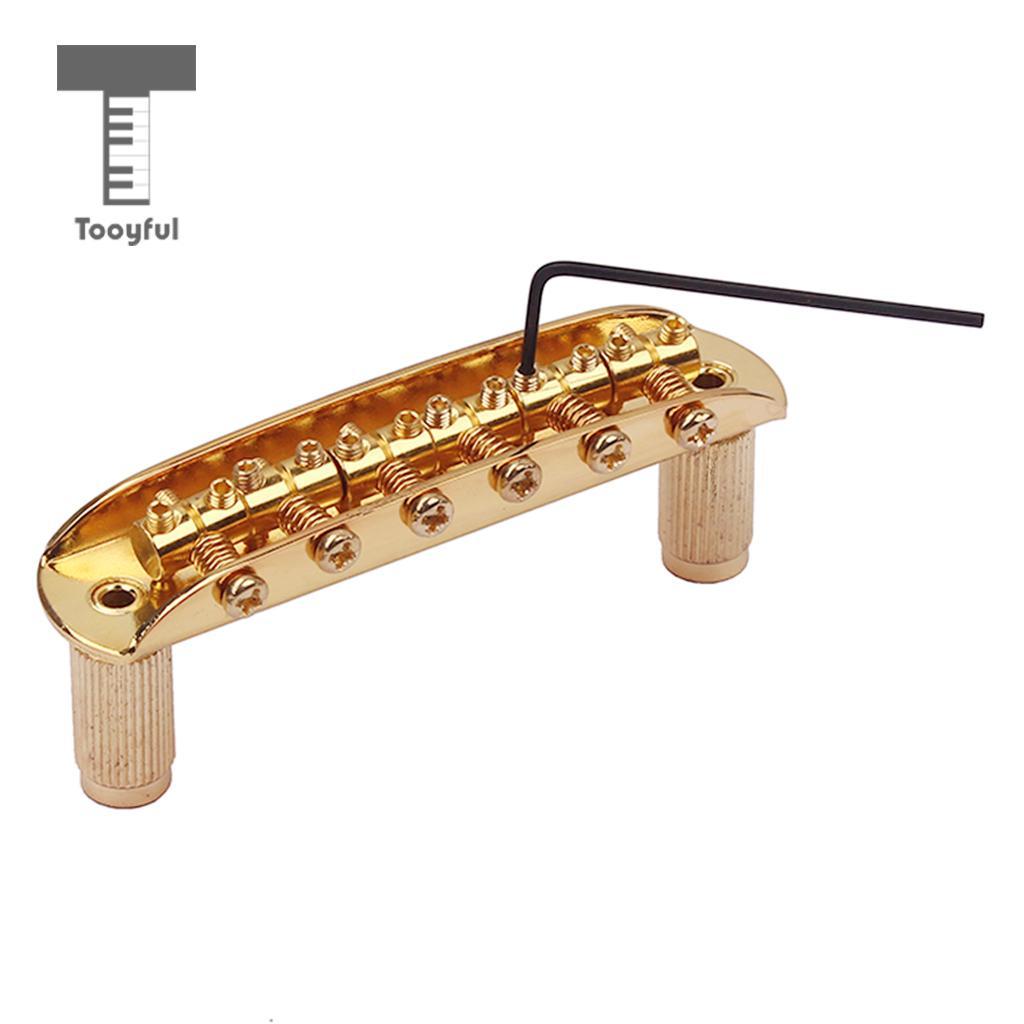 Tooyful Guitar Bridge W/ Thimbles & Allen Wrench for Jazzmaster Jaguar Mustang Gold 2pcs 4 string bridge l shape saddle bridge gold with screws allen wrench for bass guitar replacement