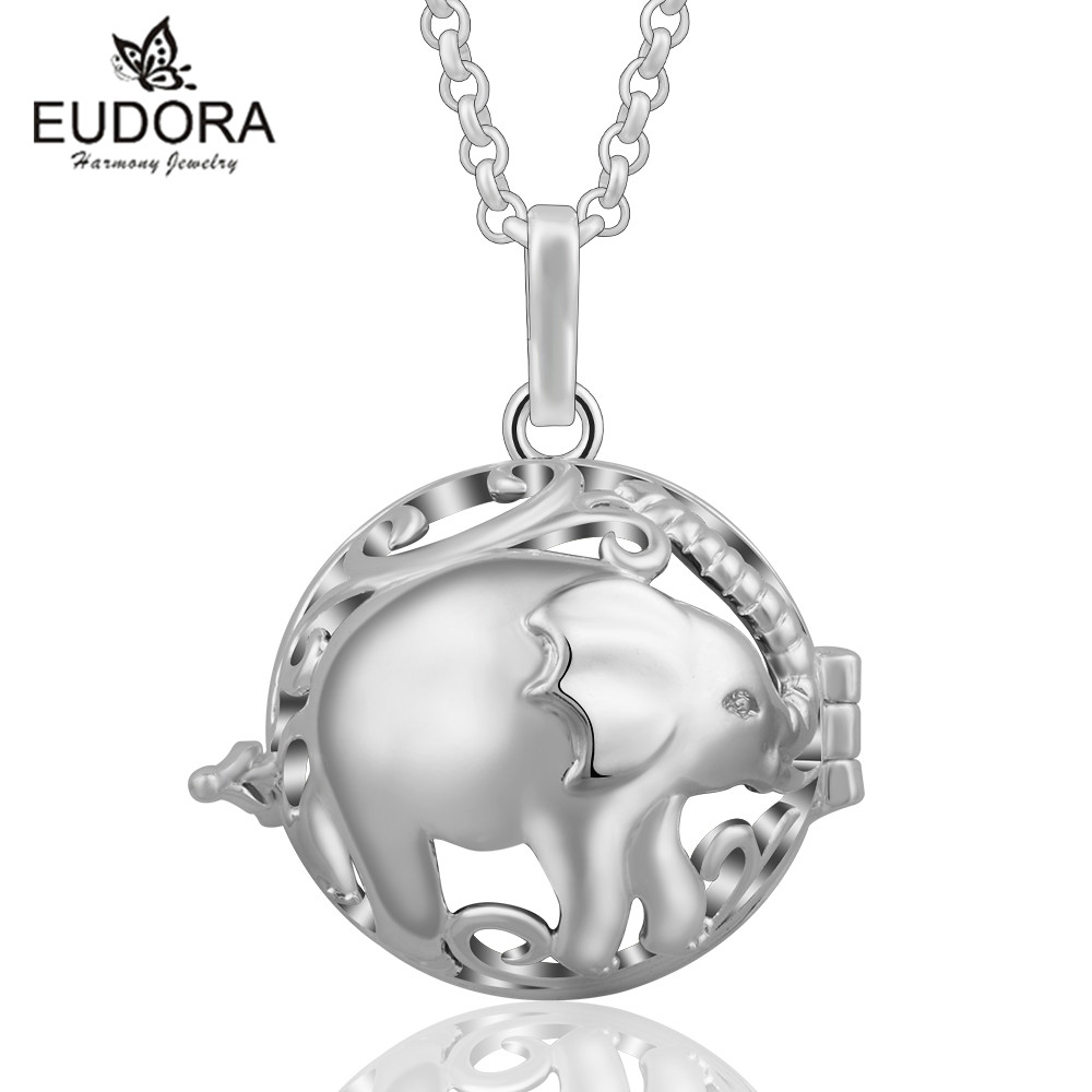 Eudora Harmony Ball Cute Elephant Locket Pendant For Pregnant Women Floating Cages Loket Chain Necklace Jewelry Great Gift
