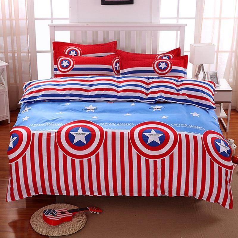 Captain America Cartoon Bedclothes Duvet Cover Set