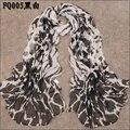 Nuevas mujeres de moda del leopardo especial impreso gasa diseño georgette de seda como bufanda / chal! retail & wholesale