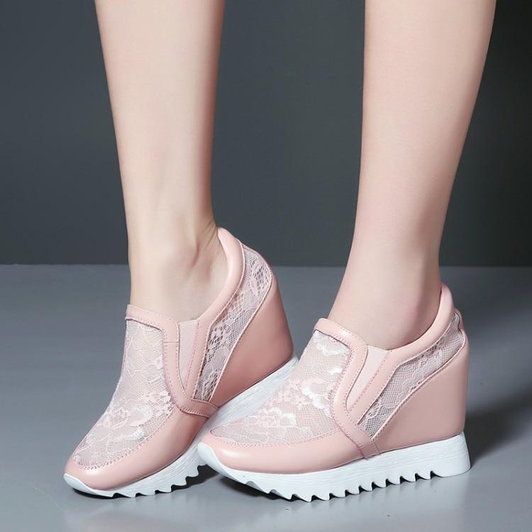 Cuero 2018 Interior Nuevo El Aumento De Tacón Slip Alto Negro Mujer blanco Casuales Zapatos rosado {zorssar} en Plataforma Genuino Bombas IwSdqI