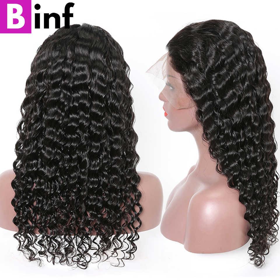 BINF волосы индийские глубокая волна человеческих волос парики 360 синтетический фронтальный парик с детскими волосами предварительно сорванные волосы remy 150% плотность натуральный черный