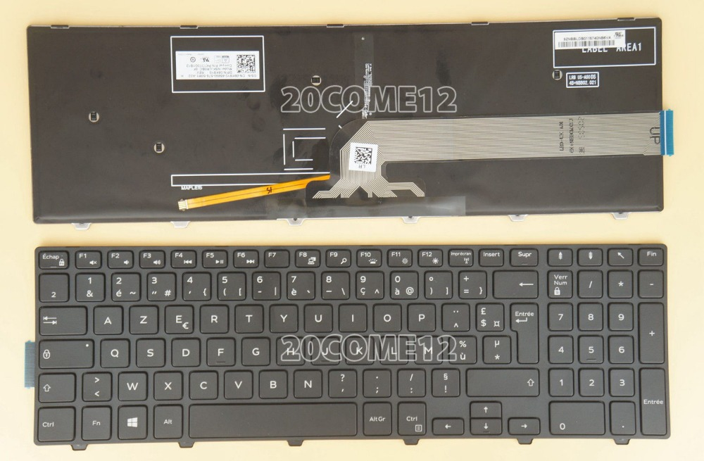 New notebook Laptop keyboard for DELL Vostro 3558 3559 Backlit French Layout new laptop keyboard for asus 0kn80 1120fr00 black windows 8 french layout