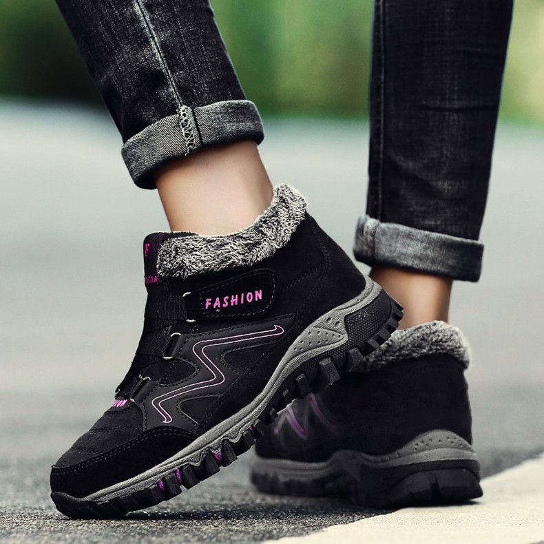 STS BRAND 2019 New Winter Ankle Boots Women Snow Boots Warm Plush Platform Boot Fashion Female Wedge Shoes Snow Waterproof shoes (17)