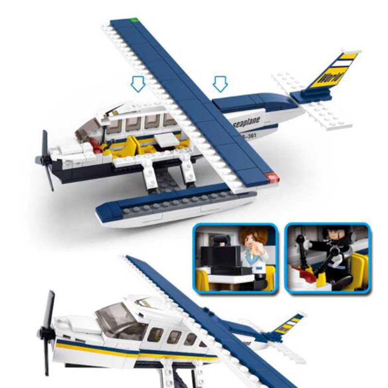 214pcs/Set B0361 ABS Building Assembling Blocks Seaplane Aircraft Airplane With 2 Dolls Model Toys For Children Kids Gifts