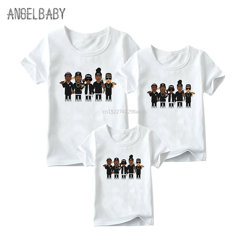 Official Website Matching Family Outfits Nwa Straight Outta Compton Print T-shirt Family Matching Look Clothes Kids&man&woman Funny Tshirt