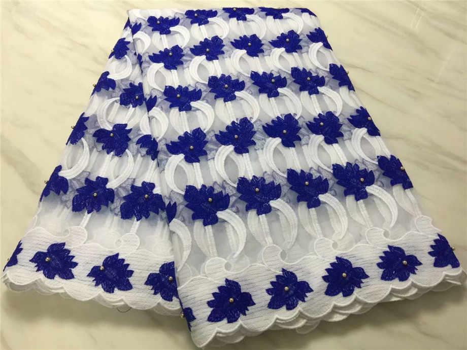 Высококлассная стильная кружевная ткань с бусинами молочный шелк вышитая гипюровая кружевная сетчатая Африканские свадебные платья швейная сетка материал белый, синий