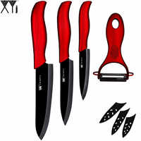 """Juego de cuchillos de cerámica de Año Nuevo 3 """"paring 4"""" utility 5 """"Cuchillo de corte pelador hoja negra + rojo mango XYj regalo de año nuevo cuchillo de cocina"""