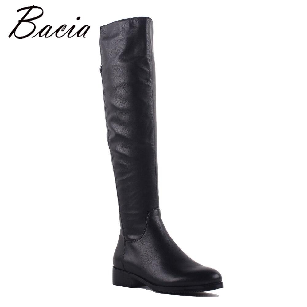 Bacia genuino de moda de cuero de grano completo Med tacones punta redonda zapatos de tacón 3,5 cm caliente de lana de invierno de piel y corto de peluche de felpa botas SA073