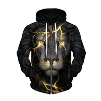 2 Patterns New Animal Lion Zipper Hoodie 3D Harajuku Print Hooded Sweatshirts Women Men Winter Tops