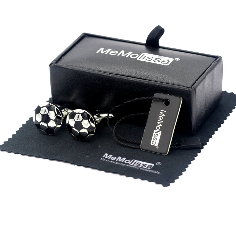MeMolissa Display Box Cufflinks Sporty Cufflinks Football Design Men's Cufflinks Silver With Black Plated Free Tag & Wipe Cloth