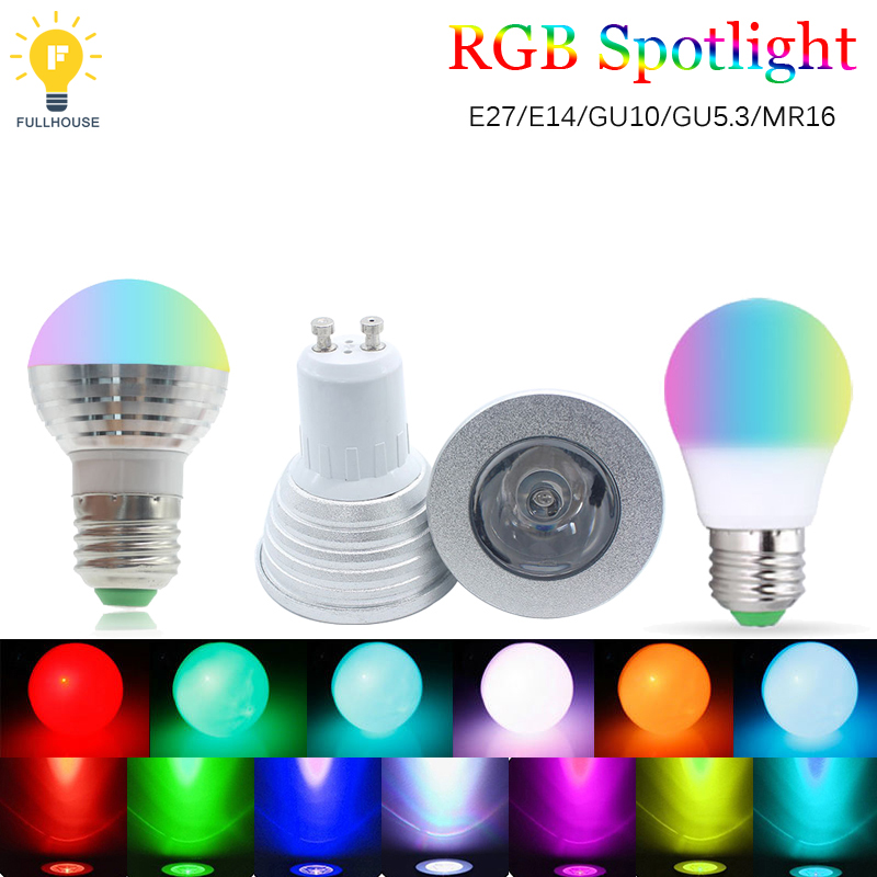 Practical 1pcs/lot Rgb Bulb 110v 220v Gu10 E27 E14 Gu53 Rgb Spotlight Light 16 Color Magic Led Night Light Lamp Dimmable Stage Light Durable Modeling Lights & Lighting Light Bulbs