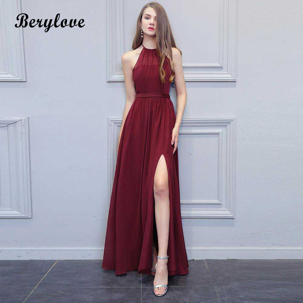 Sexy Burgundy Evening Dresses Slit Long Halter Backless Prom Gowns