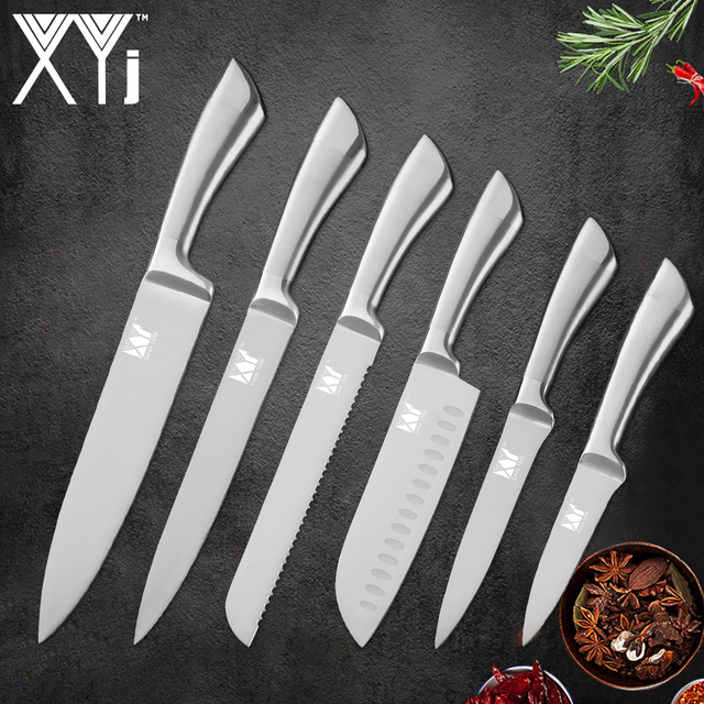 Xyj 6 Piece Stainless Steel Cooking Knife Set Sliver Non Slip Handle Sharp High Carnon Blade Kitchen Knives Cooking Accessories In Knife Sets From