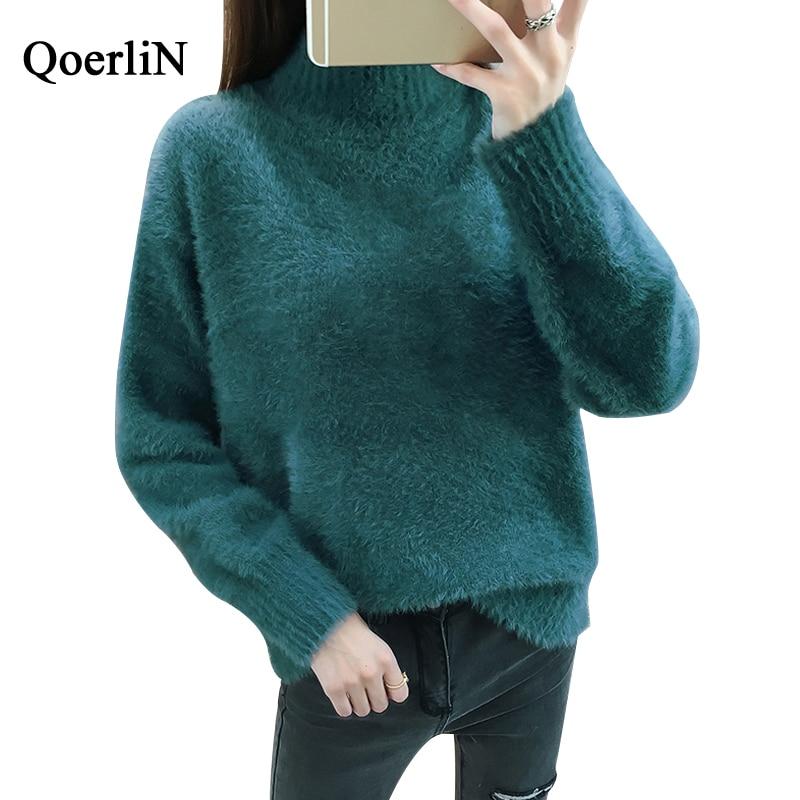 QoerliN Hot Dark Green Sweater Women Autumn Purple Warm Mohair Pullovers Female Turtleneck Long Sleeve Loose Casual Jumper Girls Price $28.36