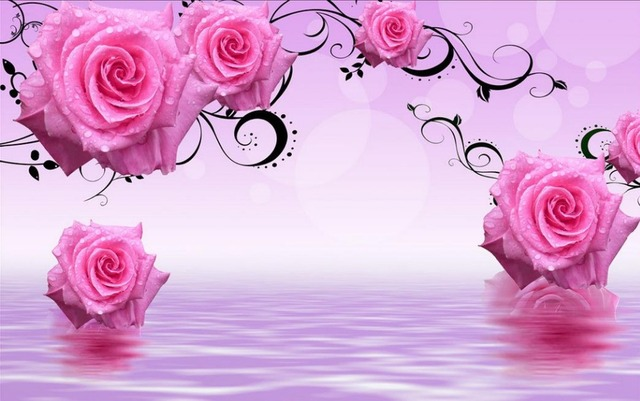 Wallpapers For Living Room Pink Rose 3d Stereoscopic Wallpaper 3d