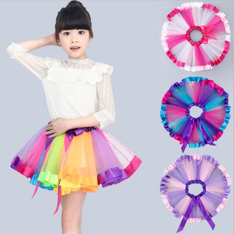 Summer Colorful Girls Skirts/saia menina Sweet Rainbow Baby Toddler Tutu Kids Clothes Mesh Bow Dance Party Children Pettiskirt saia burgess pcd2 k521