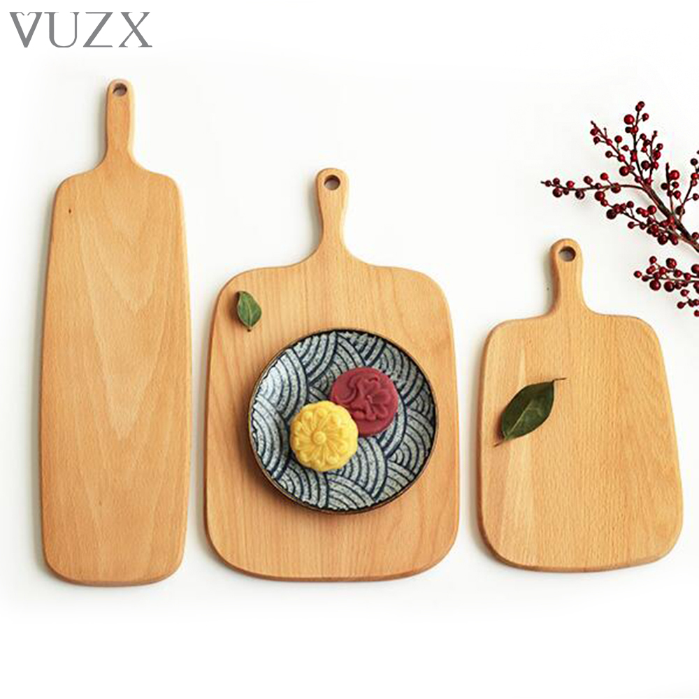 Eco Friendly Beech Wooden Chopping Blocks Kitchen Wood Food Plate Pizza Sushi Bread Salad Whole Wood Tray Cutting Board No Paint