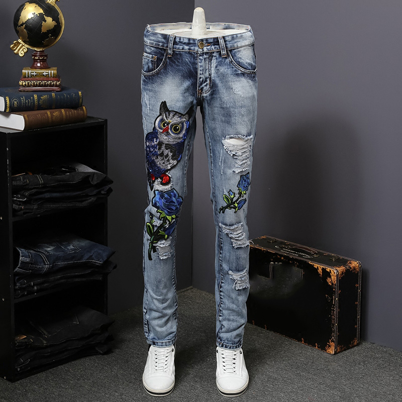 Mens Eagle and Flower Embroidery Patch Ripped Jeans Casual Hole Slim Straight Distressed Denim Pants Jeans Homme