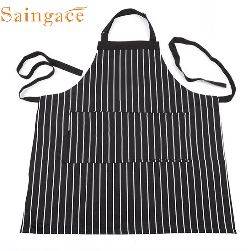 2017 My House Decor Adjustable Black Stripe Bib Apron With 2 Pockets Chef Kitchen Cook Tool