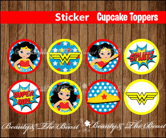Wonder Women Party Sticker Toppers Super Women Birthday Party Decorations Kids Sticker for Birthday Candy Tags Bottle Sticker
