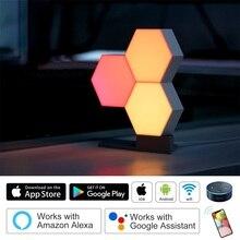 תנור DIY Quantum אורות Creative גיאומטריה הרכבה חכם APP בקרת בית LED לילה אור עבודה עם אמזון Alexa חכם מנורה
