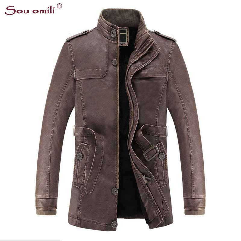Velvet Leather Jackets Men Coats Winter Warm Motorcycle Leather ...