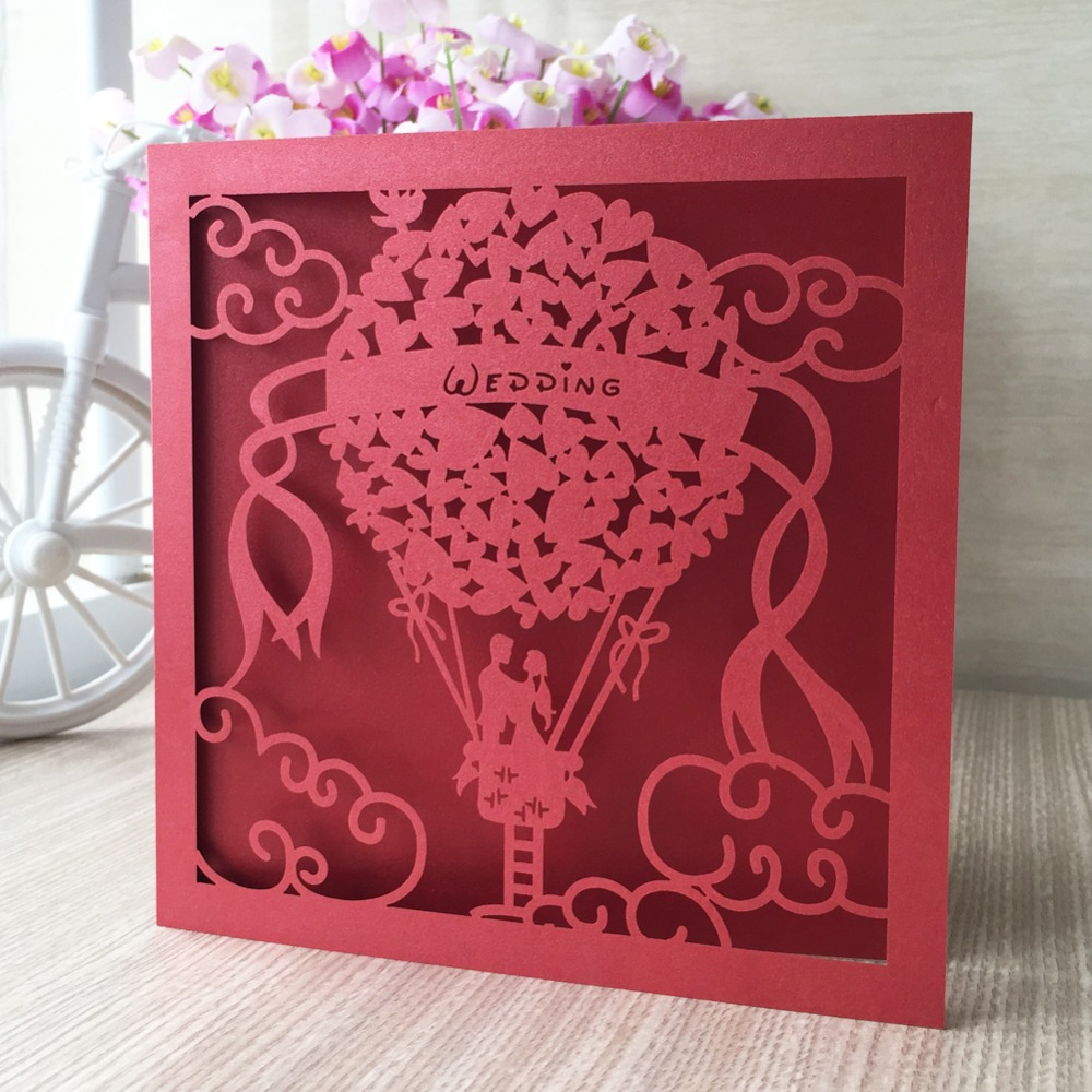 50pcs Laser cut Hot Air Balloon Pattern Pearl paper Greeting ...