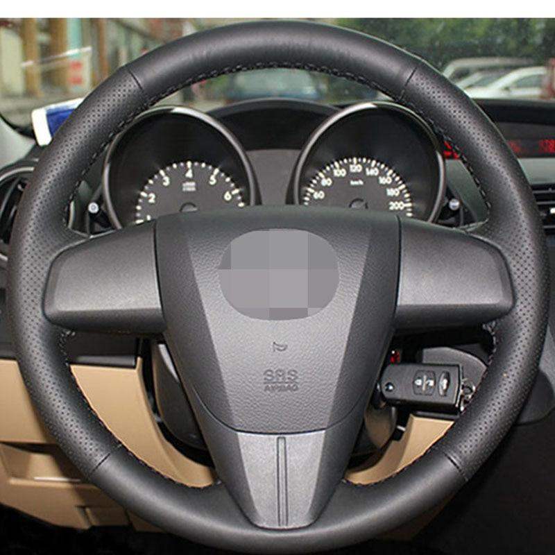 Black Artificial Leather Car Steering Wheel Cover For Mazda 3 Mazda CX7  2011-2013