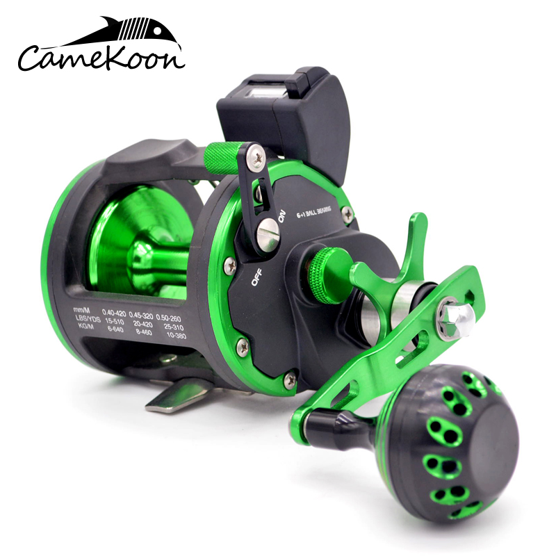 CAMEKOON Deep Sea Fishing Reel With Line Counter 15KG Drag Power Trolling Reels Saltwater Reels