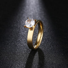 DOTIFI Titanium 316L Stainless Steel Rings For Women 4mm Large Shiny Zircon Engagement Wedding Ring Jewelry(China)