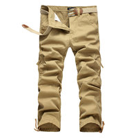 2017 High Quality Loose Sweatpants Large Size Men Multi-pocket Cargo Pants Overalls Men Washed Cotton exercise Joggers