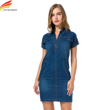 2018 Denim Dress New Fashionable Turn-down Collar Short Sleeve Ladies Jeans Dress With Double Pockets Midi Dress For Woman Sale