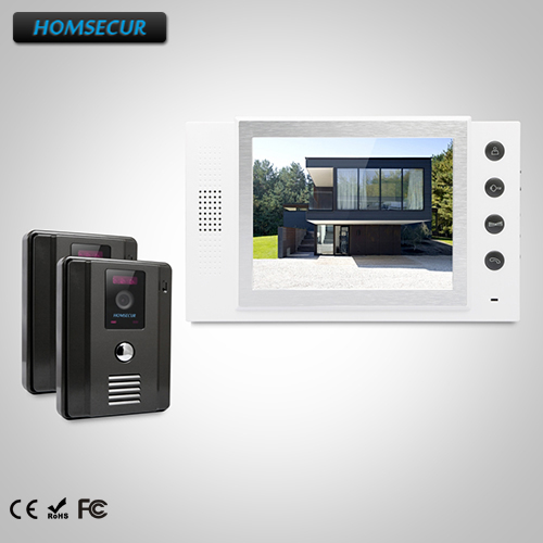 HOMSECUR 8 Hands-free Video&Audio Home Intercom+LCD Color Screen for Apartment TC011-B + TM801-W homsecur 8 wired hands free video door entry security intercom lcd color screen tc011 w tm801r b