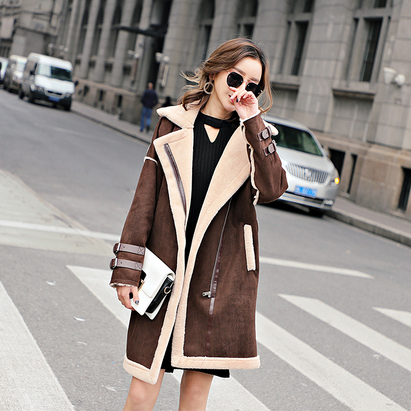 2018 fashion Winter Women Faux Lambs Wool Patchwork Coat Female Medium Long Thick Warm Shearling Coats Faux   Suede     Leather   Jacket