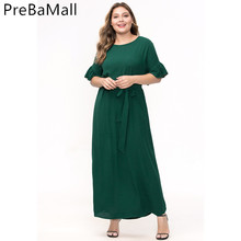 Plus Size Muslim Women Dress 2019 Summer Short Sleeve Abaya Arabic  Middle East Ramadan Arab Islamic Clothing C255