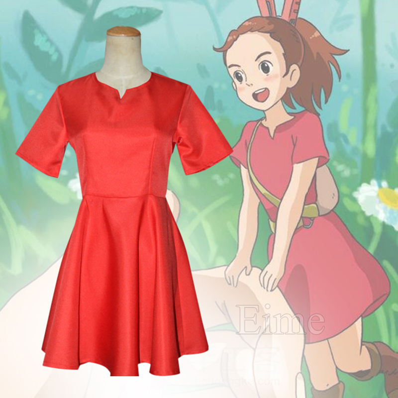 Hayao Miyazaki Movie The Secret World Of Arrietty Cosplay Costume Halloween Carnival Red Dress For Women and Kids Custom Made image