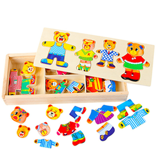 Bear changing clothes game dressing board children wooden early childhood educational toys wooden puzzle