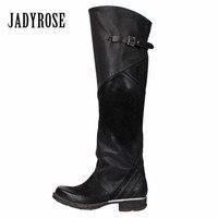 Jady Rose/Новинка 2019 года, модные женские сапоги до колена, женские осенне зимние сапоги для верховой езды, обувь на плоской подошве, Женская рез