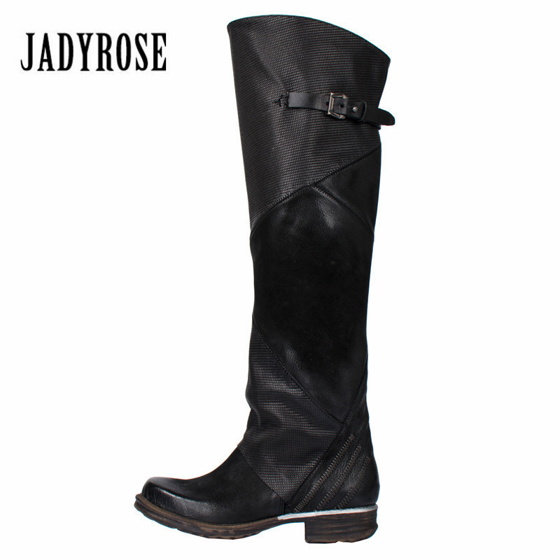 Jady Rose 2018 New Fashion Women Knee High Boots Female Autumn Winter Riding Boots Flat Shoes Woman Platform Rubber Botas Mujer jady rose black women knee high boots genuine leather riding boot flat shoes woman platform straps high boots for winter