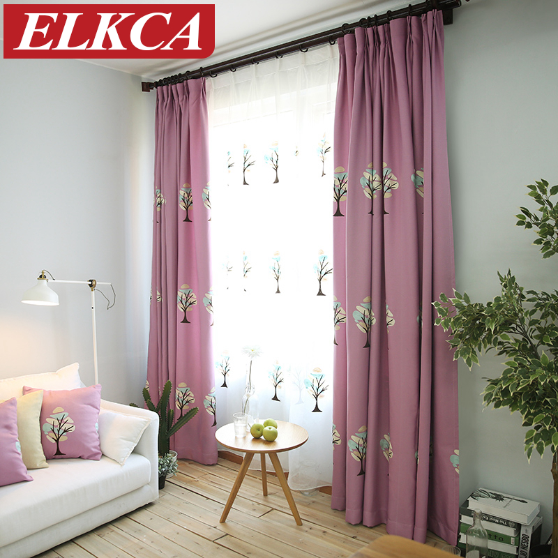 Tree Embroidered Purple Curtains For Kids Faux Linen Blue Curtains For Living Room Cartoon