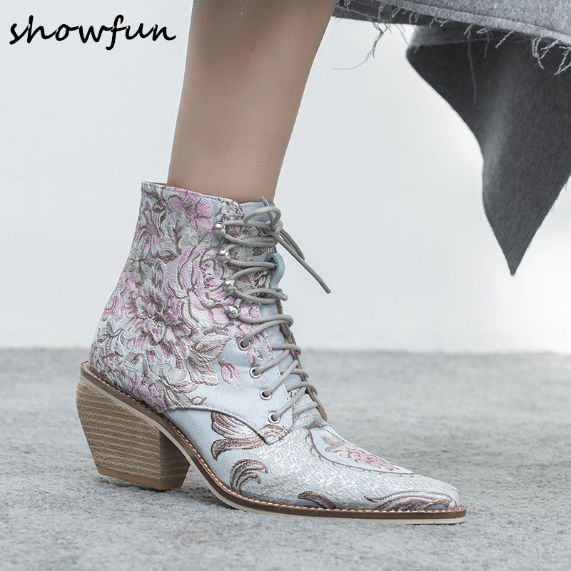 купить 5 Color Women's Silk Printed Flower Lace-up Autumn Ankle Boots Brand Designer Pointed Toe Med Heel Short Booties Shoes For Women онлайн