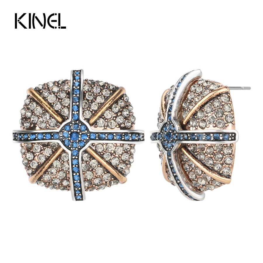 Kinel 2017 New Luxury Vintage Rhinestone Earrings For Women Ancient Gold Color Fashion Party Jewelry Silver Color Cross Earrings pair of vintage rhinestone faux pearl cross floral earrings for women