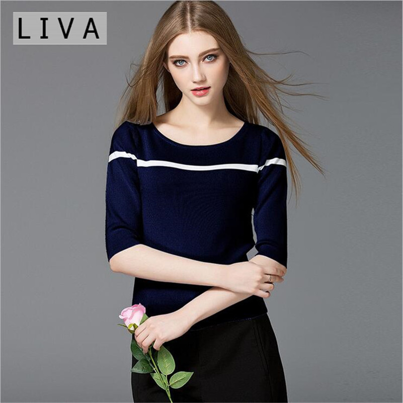 Soft Wear Women T Shirt Fashion 2017 Knitting Sweater T Shirt Women Cotton Half Sleeve Female