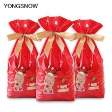 5個赤プラスチックキャンディーバッグクリスマスヘラジカキャンディースウィートトリートチャームはバッグクリスマスフェスティバルギフトホルダー焼くビスケットクッキー包装バッグ
