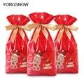 5 stücke Rot Kunststoff Candy Taschen Weihnachten Elch Candy Süße Behandeln Taschen Weihnachten Festival Geschenke Halter Backen Keks Cookies Verpackung taschen