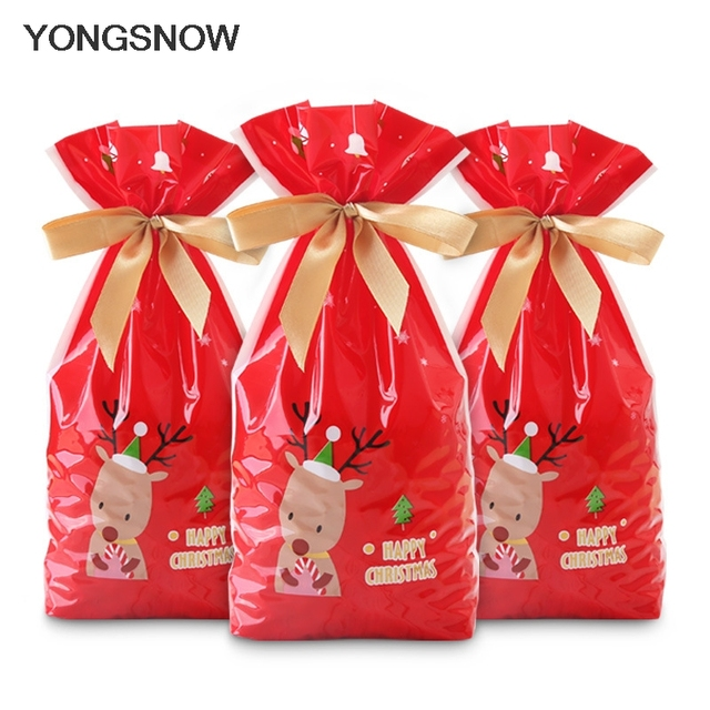 5pcs Red Plastic Candy Bags Christmas Elk Candy Sweet Treat Bags Xmas Festival Gifts Holders Bake Biscuit Cookies Packaging Bags