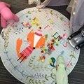 2017 Hot Sale Diameter 150cm Lovely Fox Pattern Baby Play Mats For Children Developing Crawling Rug Carpet Kids Toys Storage Bag